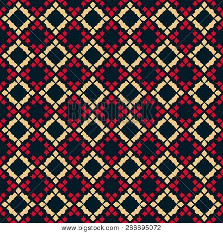 Vector Geometric Seamless Pattern. Traditional Folk Ornament. Texture With Rhombuses, Flower Shapes.