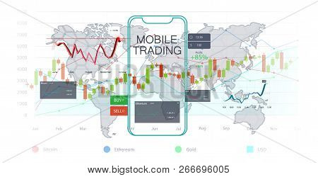 Mobile Stock Market, Investment Trading. Financial Analytics. Mobile Stock Trading Concept, Business