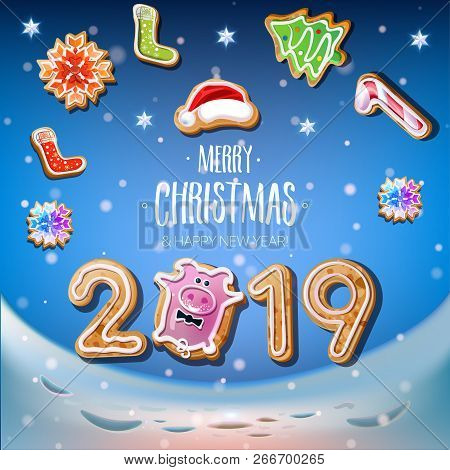 2019 New Year & Merry Christmas Symbol. Santa Claus On A Winter Background With Christmas Toys, Star