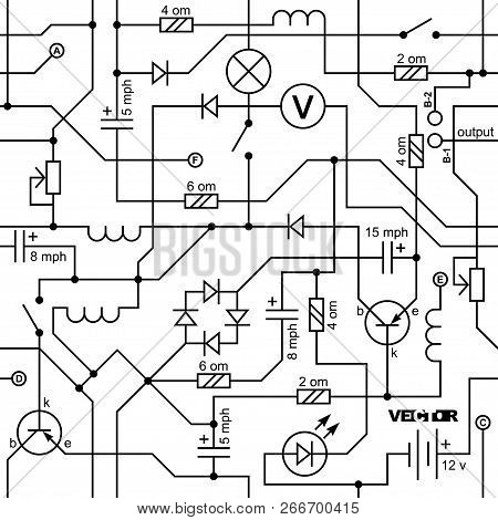 Vector Seamless Background Of Electrical Circuit Of Radio Device (resistance, Transistor, Diode, Cap