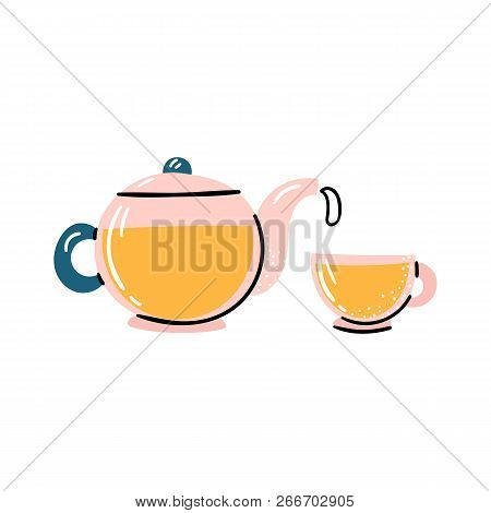 Vector Cartoon Illustration With Glass Teapot And Cup With Herbal Tea. Tea Ceremony Objects. Vector