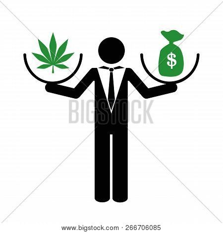 Businessman Makes Money With Cannabis Pictogram Vector Illustration Eps10