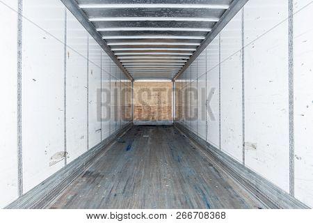 Interior View Of Empty Semi Truck Dry Van Trailer
