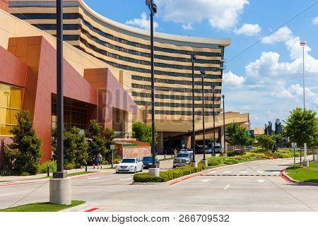 Durant, Oklahoma, Usa - July 18, 2018 - View Of The Entrance To The Choctaw Casino & Resort Building