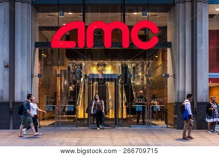 Chicago, Illinois - July 10, 2018 - Entrance To Amc River East 21 Theaters, Sittuated On 322 East Il