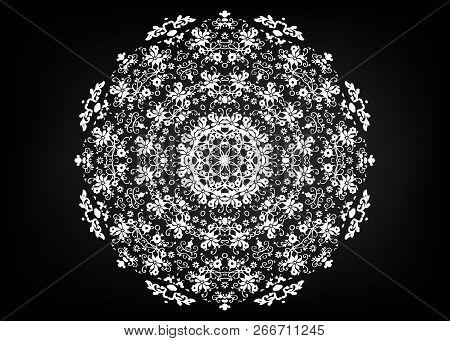 Paper Lace Doily. Laser Cutting Mandala. Oriental Silhouette Ornament. Circular Ornament. Round Latt