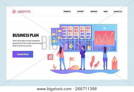 Vector Web Site Gradient Design Template. Business Plan And Marketing Dashboard. Landing Page Concep