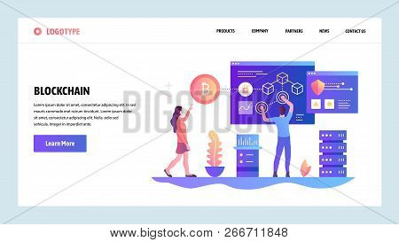 Vector Web Site Design Template. Blockchain And Cryptocurrency Technology. Bitcoin. Landing Page Con