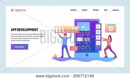 Vector Web Site Gradient Design Template. Coding And Software App Development. Landing Page Concepts