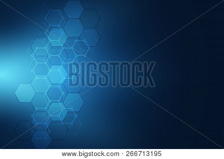 Geometric Background Texture With Molecular Structures And Chemical Compounds. Abstract Background F