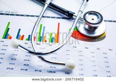 Stethoscope, Charts And Graphs Spreadsheet Paper, Finance, Account, Statistics, Investment, Analytic
