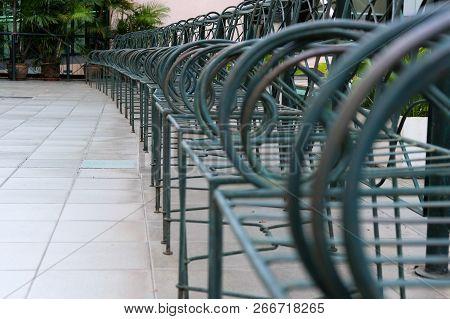 Metal Chair & Leather Cushion On Terrace Patio