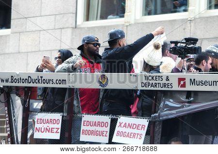 Boston, Ma.  October 31, 2018. Boston Red Sox Players Eduardo Nunez And Eduardo Rodriguez On A Bus O