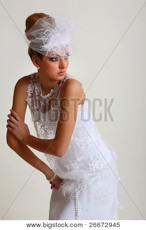Girl is in wedding dress