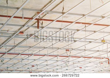 Working Of Metal Frames Structure  Before Installing Gypsum Boards Interior Construction Site