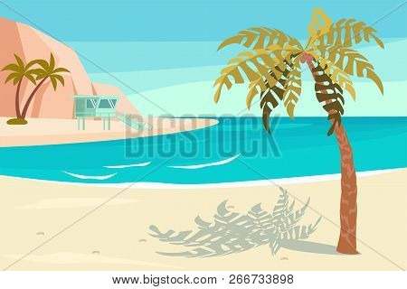 Landscape With Sand Tropical Beach. Summer Seaside With Palm And Rock Scene. Vector Illustration Eps