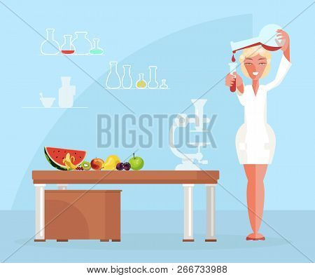Diet Researching Concept In Flat Design. Dietician Doctor Testing Food Products In Lab. Vector Illus
