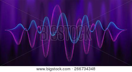 Digital Equalizer Sound Wave Vector Illustration. Music Neon Background. Illuminated Digital Audio W