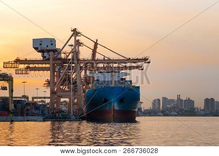 Container Cargo Ship In The Export And Import Business And Logistics International Goods In Urban Ci