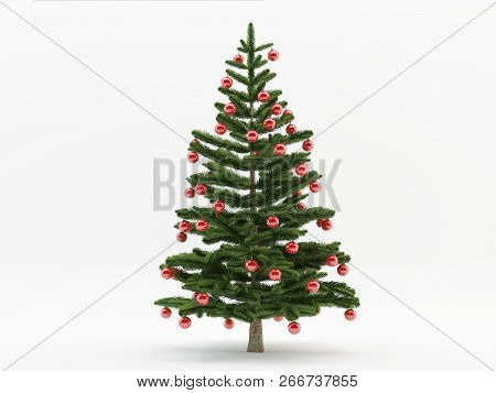 3d Illustration Of Green Christmas Tree Over White Background With  Red Balls