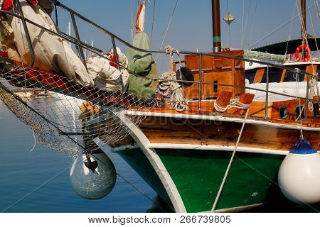 View Of Colorfull Fishing Boat In The Harbour, Syracuse Sicily Italy