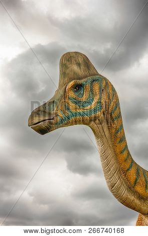 San Marco In Lamis, Italy - June 9: Lambeosaurus Dinosaur, Featured In The Dino Park In San Marco In