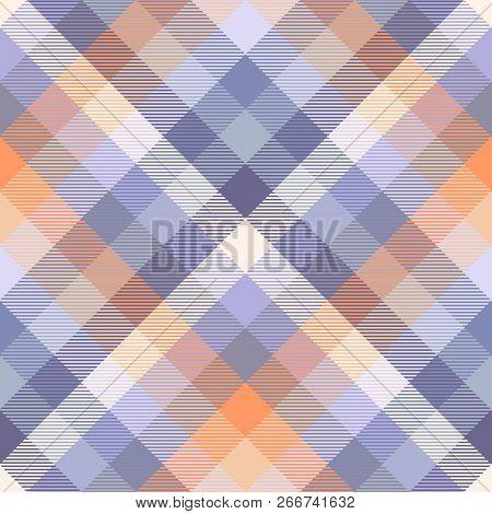 Madras Plaid Pattern In Purple, Blue, Orange And Cream.