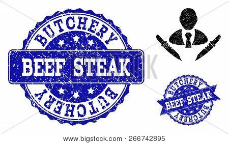 Grunge Butchery Boss Icon And Rubber Seals. Vector Imprints With Unclean Rubber Texture For Butchery
