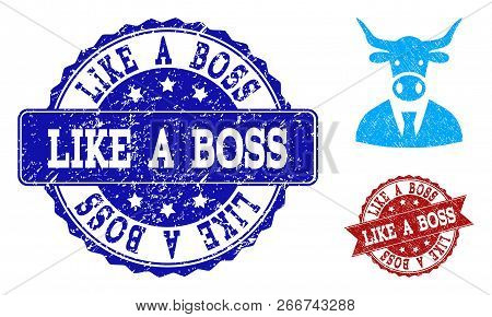 Grunge Cow Boss Icon And Rubber Stamps. Vector Imprints With Grunge Rubber Texture For Cow Boss Illu
