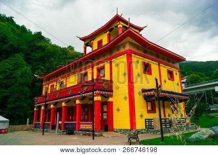 Sochy, Russia - September 26, 2017: Pavilion In Traditional Buryat Buddhist Stylein Krasnaya Polyana