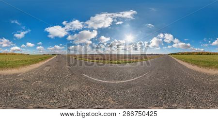 Full Spherical Seamless Panorama 360 Degrees Angle View On No Traffic Asphalt Road Among Fields In S
