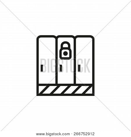 Security Lockers Line Icon. Compartment, Lock, Padlock. Safety Concept. Can Be Used For Topics Like