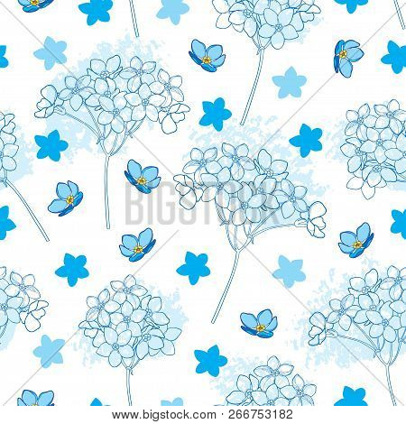 Vector Seamless Pattern With Outline Forget Me Not Or Myosotis Flower Bunch And Bud In Pastel Blue O