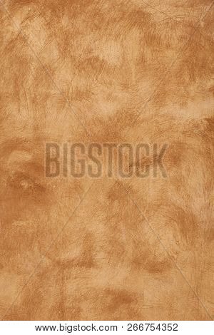 Grunge beige brown faded uneven old aged daub plaster wall texture background with stains and paint strokes, close up, vertical poster