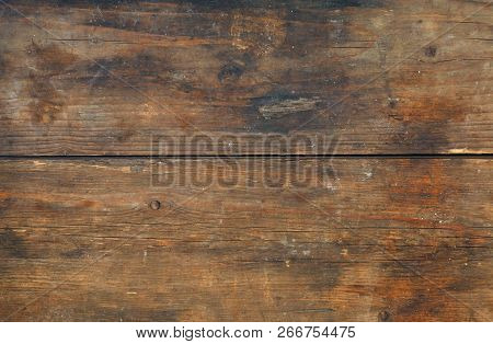 Brown Old Vintage Unpainted Wooden Horizontal Planks Wall Background Texture With Aged Woodgrain Pat
