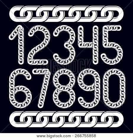 Trendy Numbers Collection, Vector Numeration. Created Using Chrome Chain, Linkage.