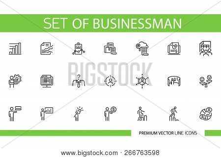 Set Of Businessman Line Icons. Employee, Entrepreneur, Occupation. Management Concept. Can Be Used F