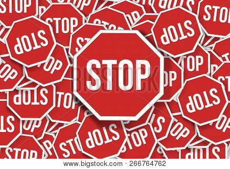 Stop Traffic Sign On A Lot Stop Signs