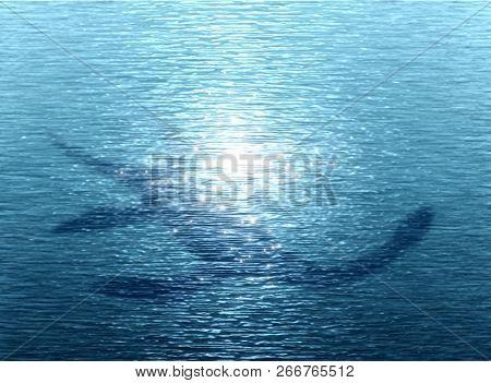Loch Ness Monster Swims Under Water-3d Illustration.