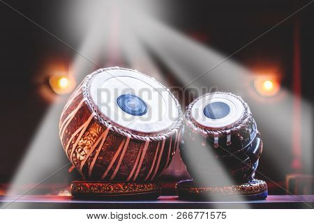 Ethnic Musical Instrument Tabla In The Stage Light