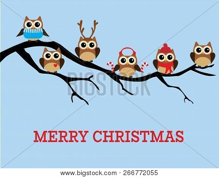 Vector Illustration Of Christmas Fun Owls. Merry Christmas Background.