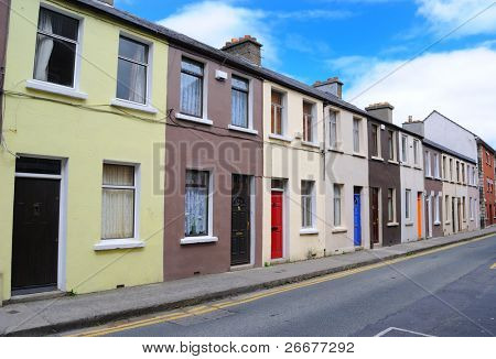 row of houses in Dublin, Ireland.