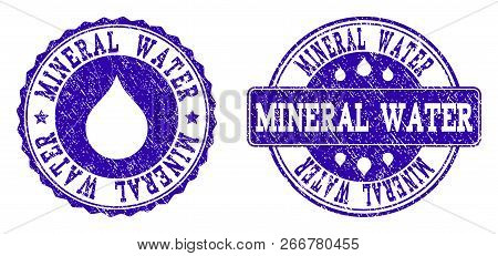 Grunge Mineral Water Stamp Seal Watermarks. Mineral Water Text Inside Blue Scratched Rubber Seals Wi