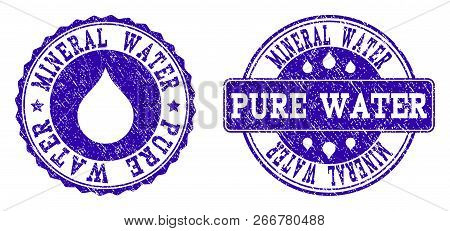 Grunge Mineral Water Pure Water Stamp Seal Watermarks. Mineral Water Pure Water Text Inside Blue Unc