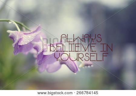 Inspirational Quotes On Nature Background. Always Believe In Yourself.