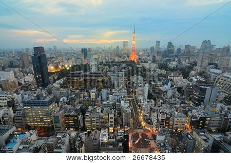 Cityscape of Tokyo, Japan including Tokyo Tower.