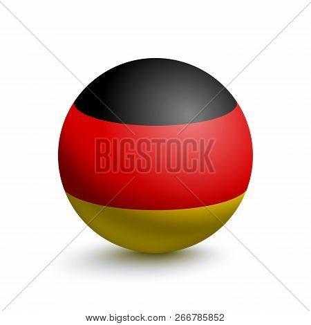 Flag Of Germany In The Form Of A Ball Isolated On A White Background. Vector Illustration