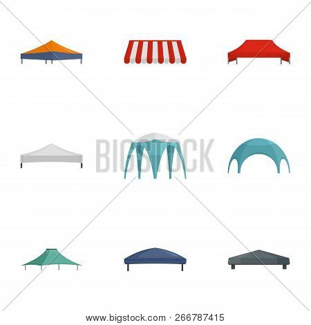 Commercial Tent Icon Set. Flat Set Of 9 Commercial Tent Icons For Web Design