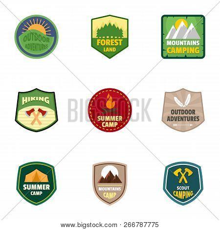 Summer Camp Logo Emblem Set. Flat Set Of 9 Summer Camp Logo Emblem For Web Design