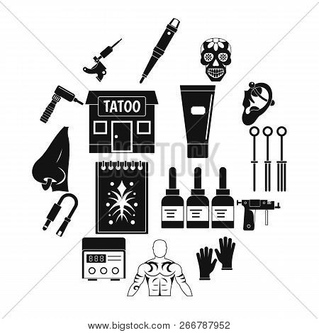 Tattoo parlor icons set. Simple illustration of 16 tattoo parlor icons for web poster